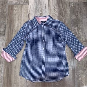 Chaps Stars and Stripes Button Up Shirt PETITE S